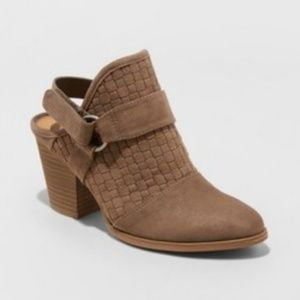 Women's Olive Back Strap Heeled Bootie in Taupe